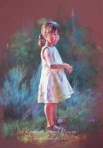 pastel drawing little girl sm cr